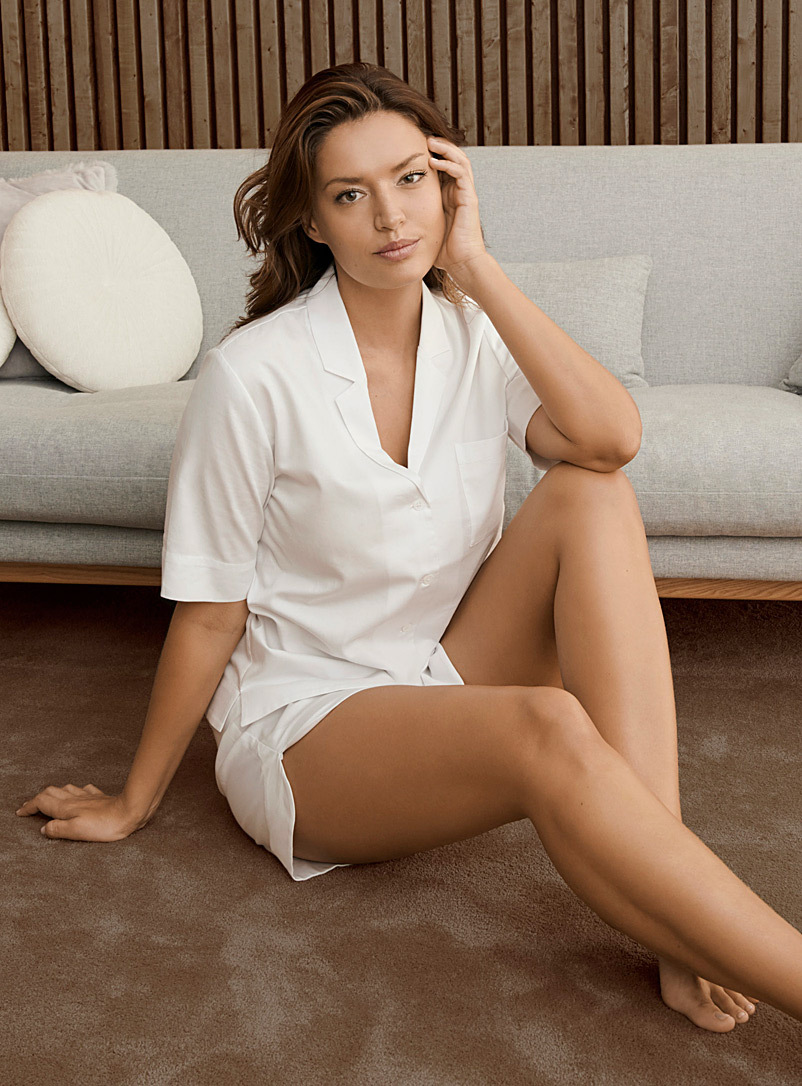 Miiyu x Le Germain Hôtels White Organic cotton boxer pyjama set for women
