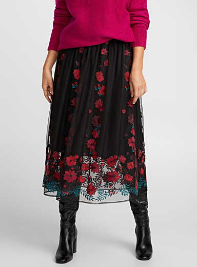 Embroidered floral tulle skirt