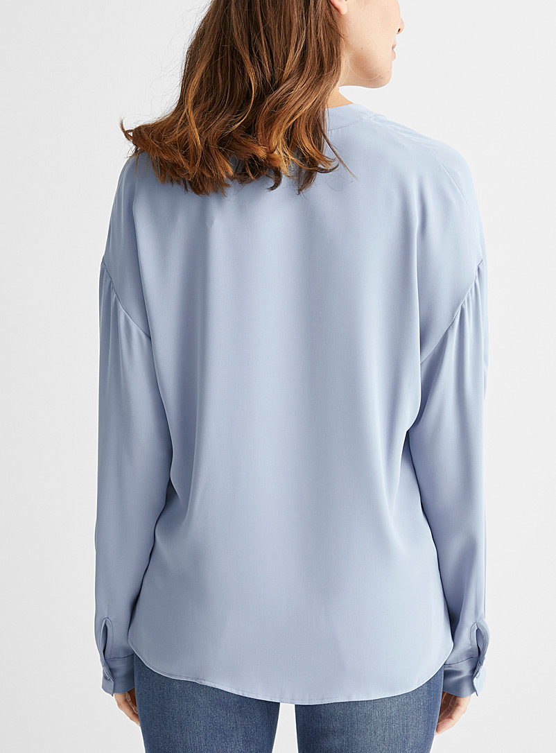Contemporaine Baby Blue Fluid seamless sleeve blouse for women