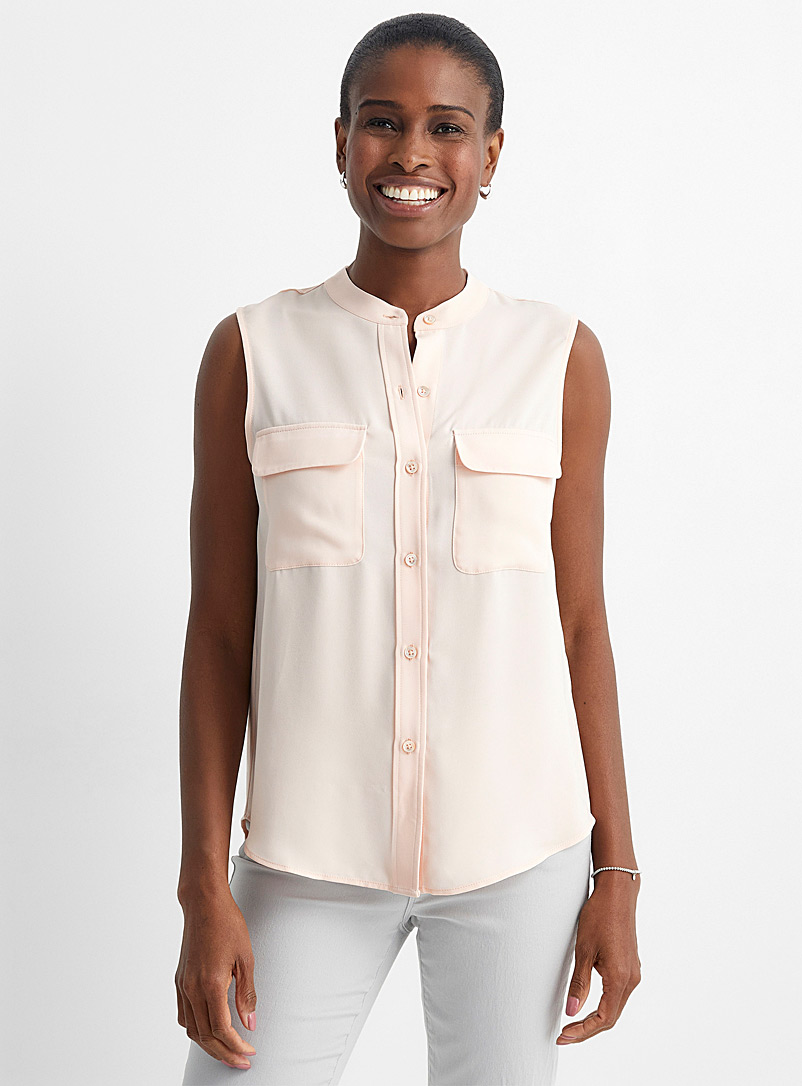 Contemporaine Dusky Pink Sleeveless flap pocket blouse for women