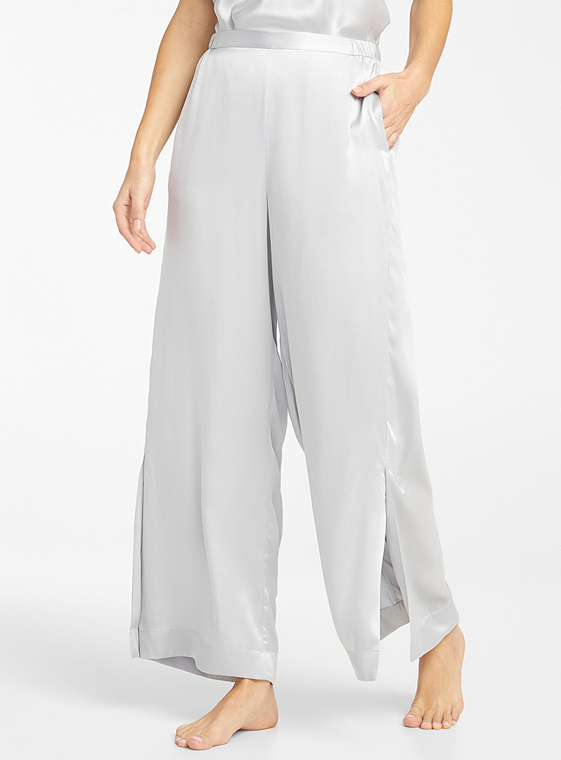 Miiyu Light Grey Shimmery pure silk pant for women