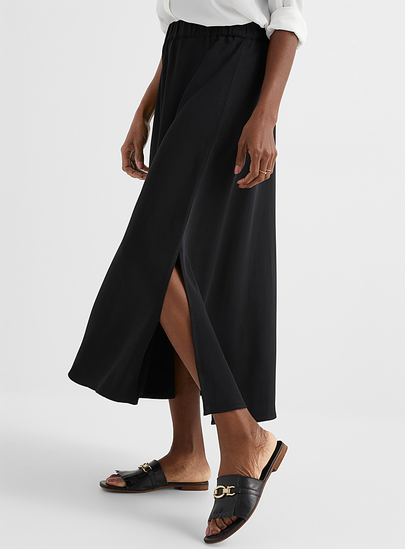 Contemporaine Black Elastic-waist fluid maxi skirt for women