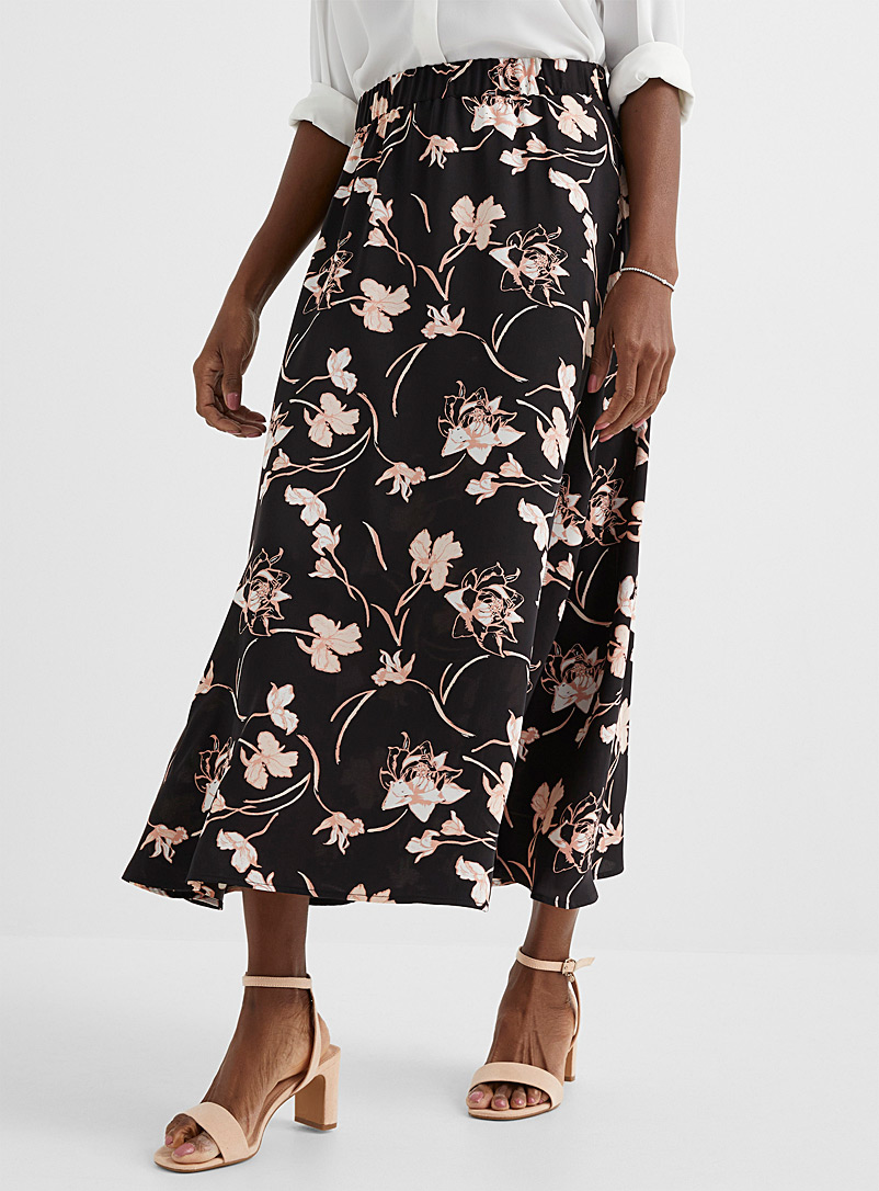 Contemporaine Patterned Black Elastic-waist fluid maxi skirt for women