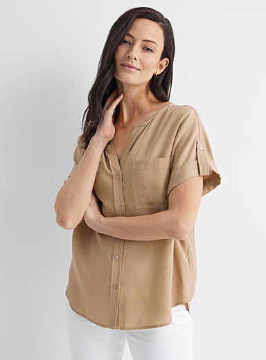 Light twill utility blouse