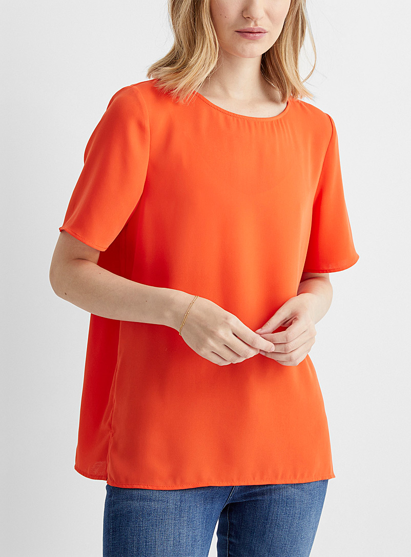 Contemporaine Coral Minimalist fluid blouse for women