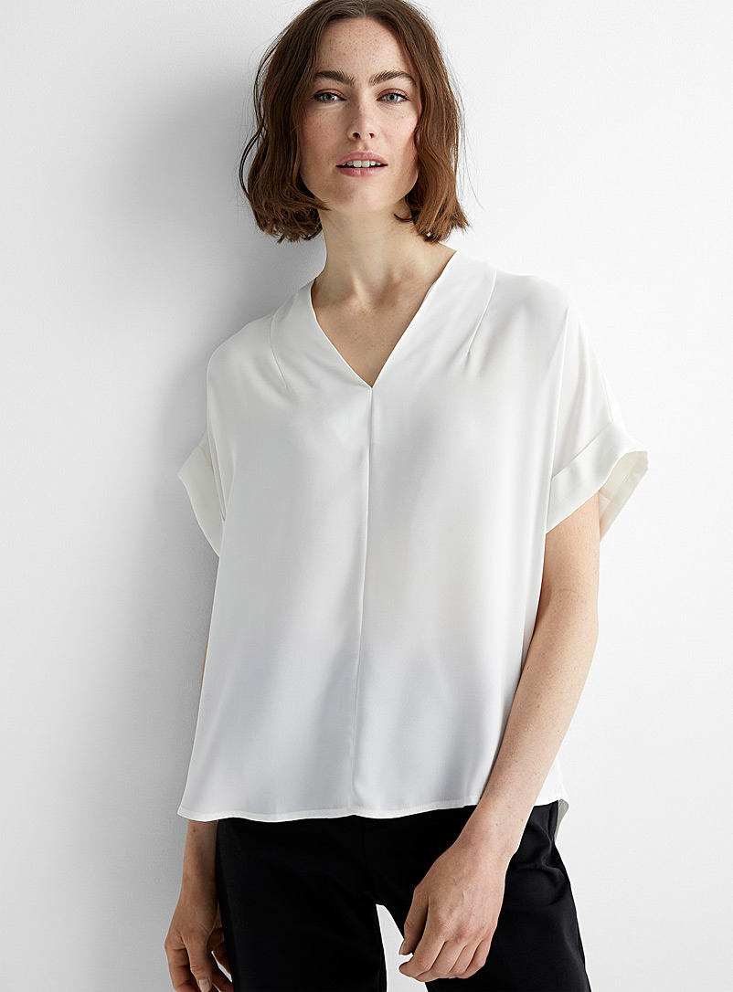Contemporaine Ivory White Cuffed-sleeve fluid blouse for women