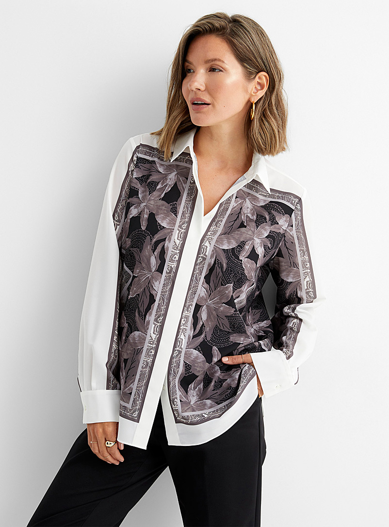 Contemporaine Assorted Silky scarf pattern shirt for women