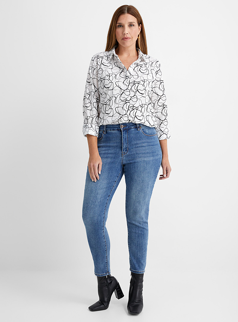 Contemporaine Patterned Black Artistic print silky shirt for women