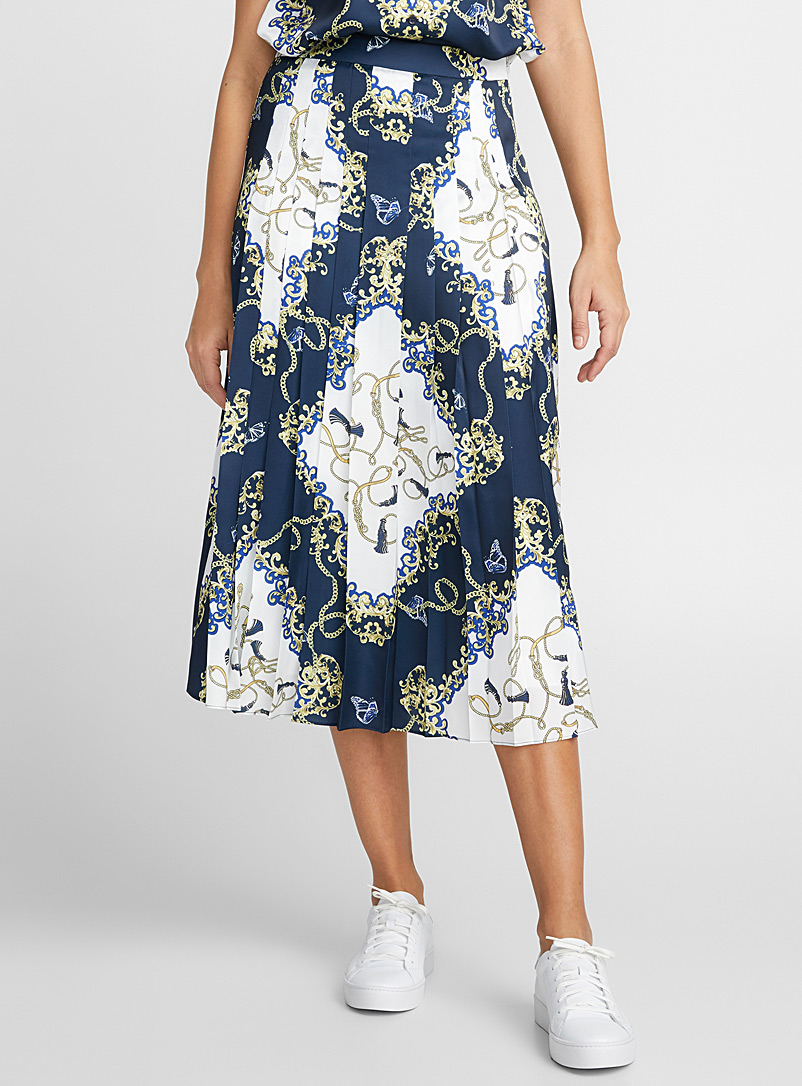 Scarf-print pleated skirt - Midi - Blue