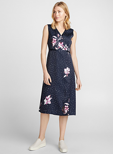 Midnight flower satin wrap dress