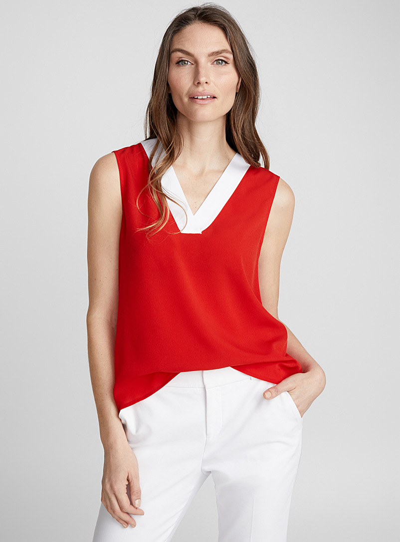 Accent V-neck camisole - Blouses - Patterned Red