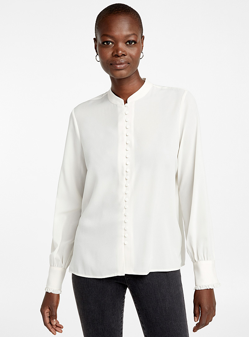 Covered button blouse - Blouses - Cream Beige