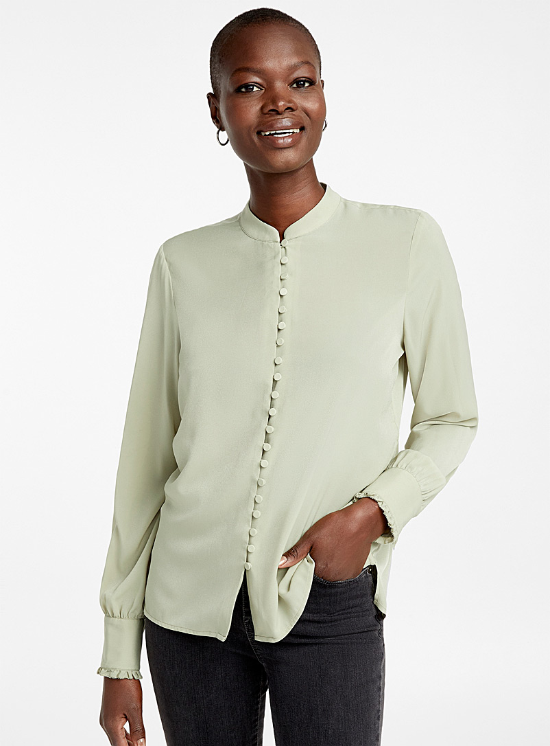 Covered button blouse - Blouses - Lime Green