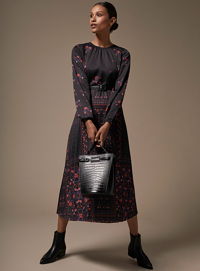 Midnight flower pleated dress - Fit & Flare - Patterned Black
