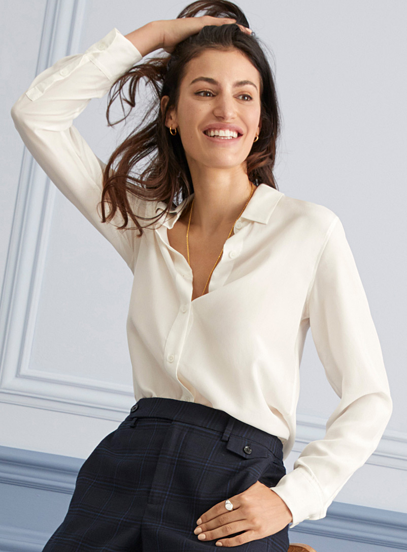 Contemporaine Ivory White Pure silk shirt for women