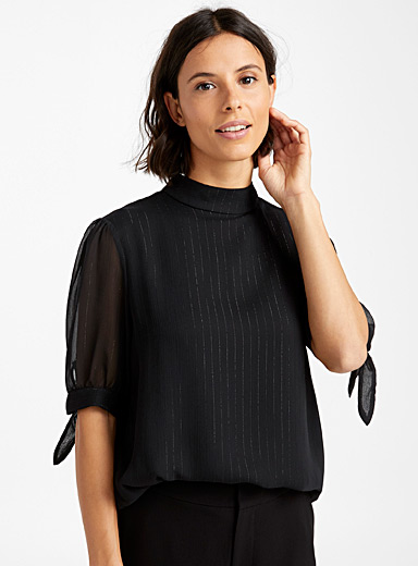 Shimmery tie-sleeve blouse