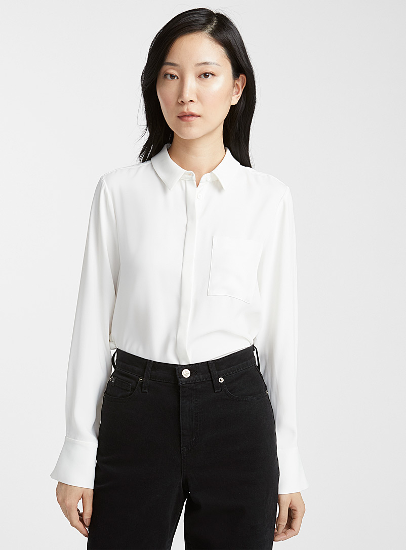 Contemporaine Ivory White Fluid patch pocket blouse for women