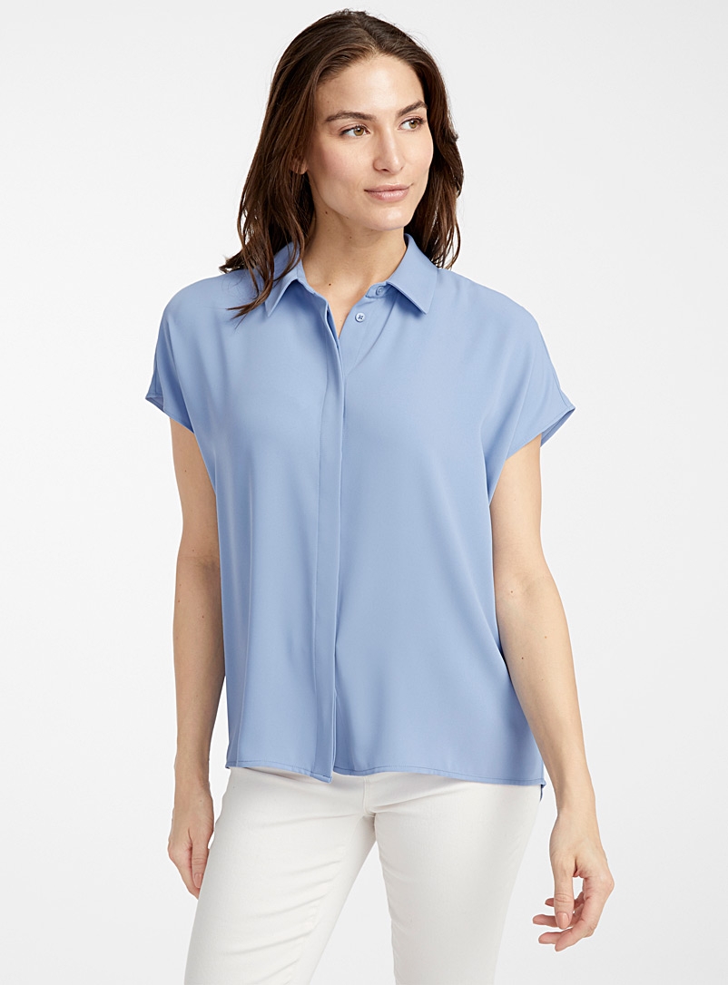 Contemporaine Baby Blue Loose fluid cap-sleeve blouse for women