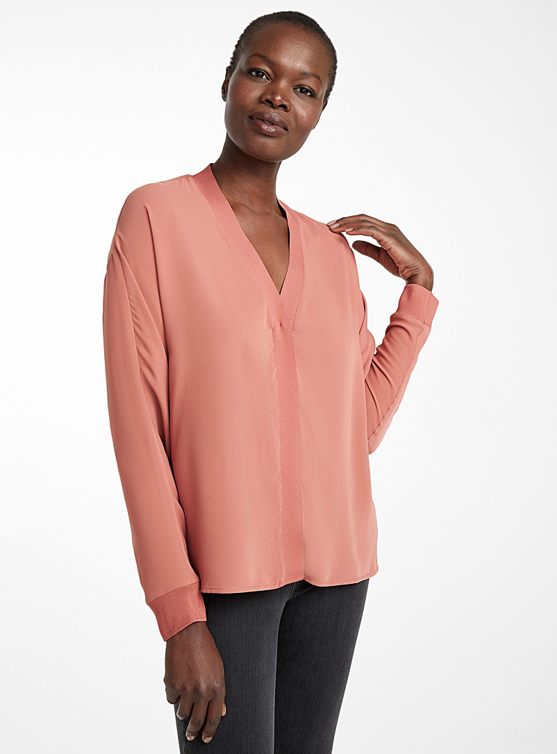 Contemporaine Dusky Pink Fluid knit trim blouse for women