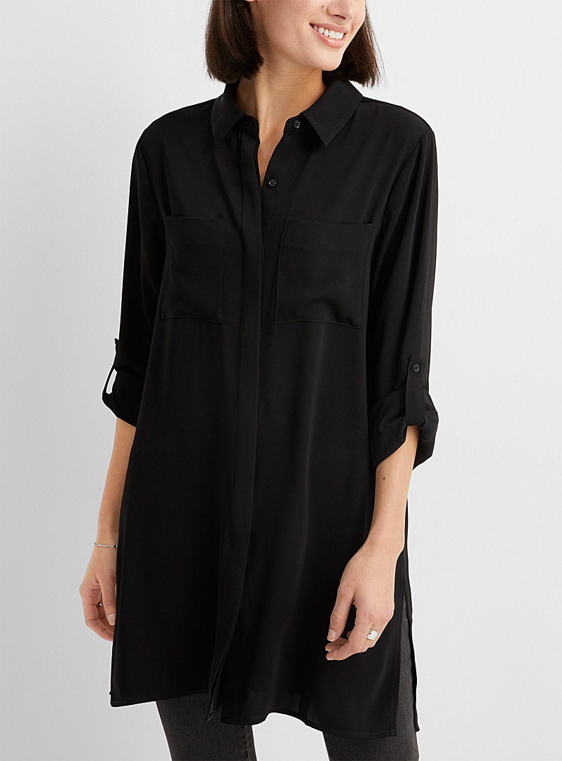 Contemporaine Black Fluid patch pocket tunic for women