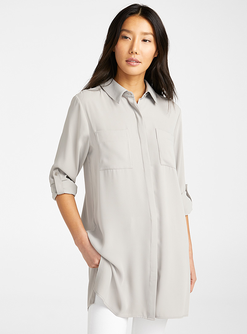 Contemporaine Light Grey Fluid patch pocket tunic for women