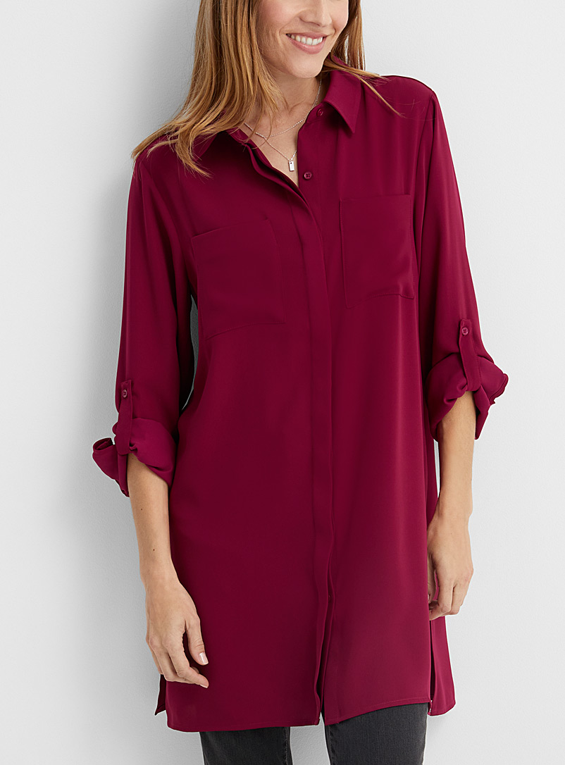 Contemporaine Ruby Red Fluid patch pocket tunic for women