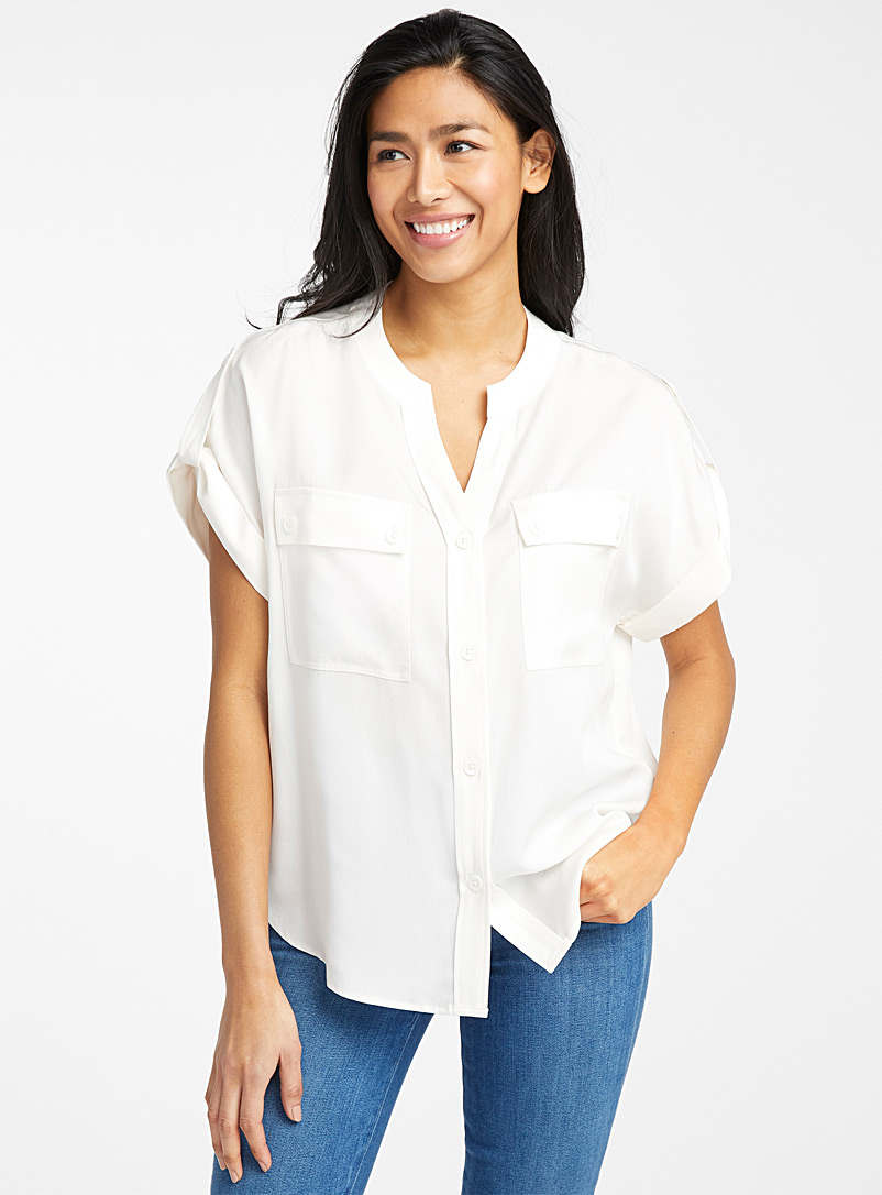 Contemporaine Ivory White TENCEL* Lyocell buttoned-pocket blouse for women