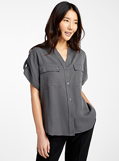 TENCEL* Lyocell buttoned-pocket blouse