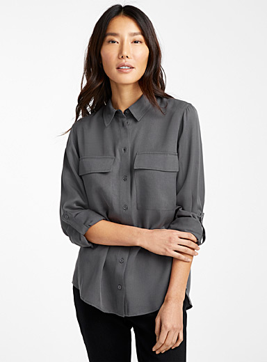 TENCEL* Lyocell flap pocket blouse