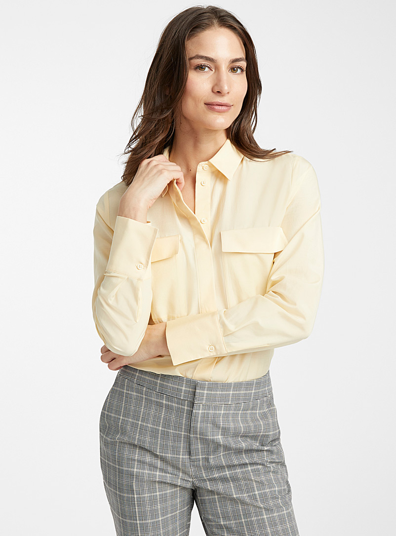 Contemporaine Light Yellow Silk-cotton pocket shirt for women