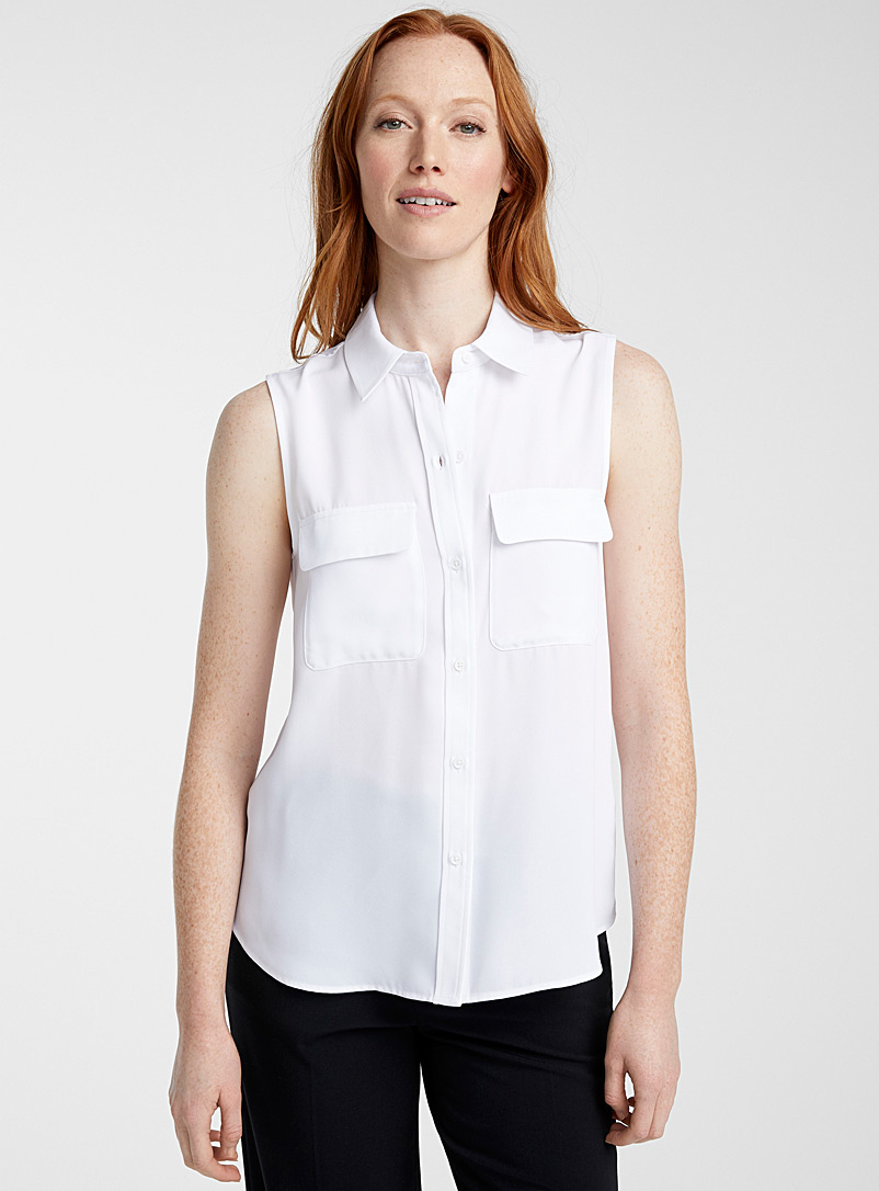 Contemporaine White Fluid flap pocket camisole for women