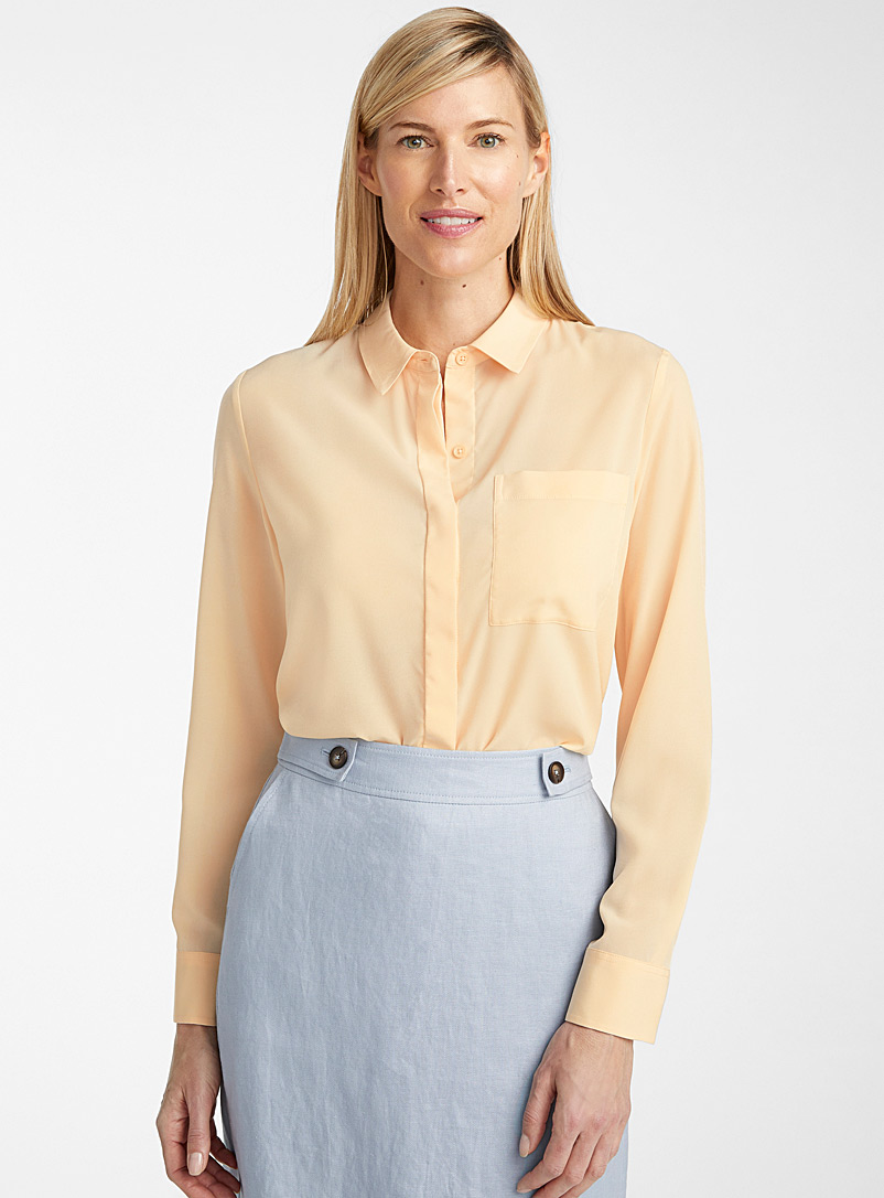 Contemporaine Light Yellow Patch pocket silky blouse for women
