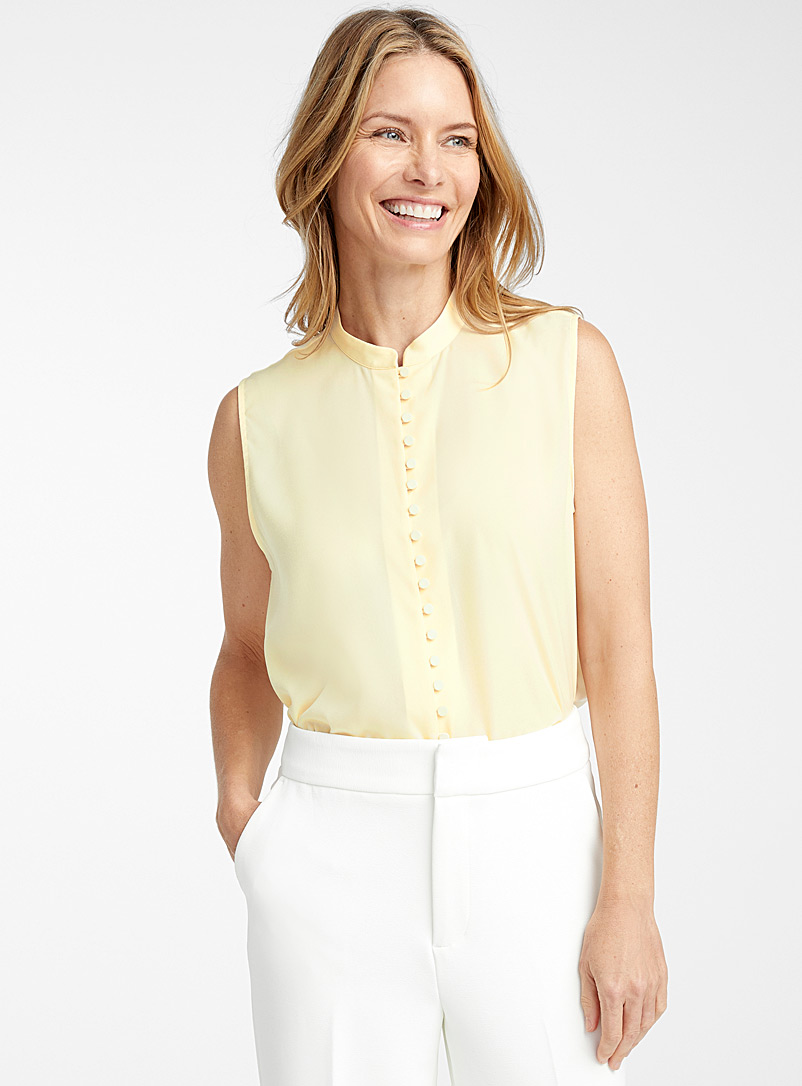 Contemporaine Light Yellow Covered-button silky camisole for women