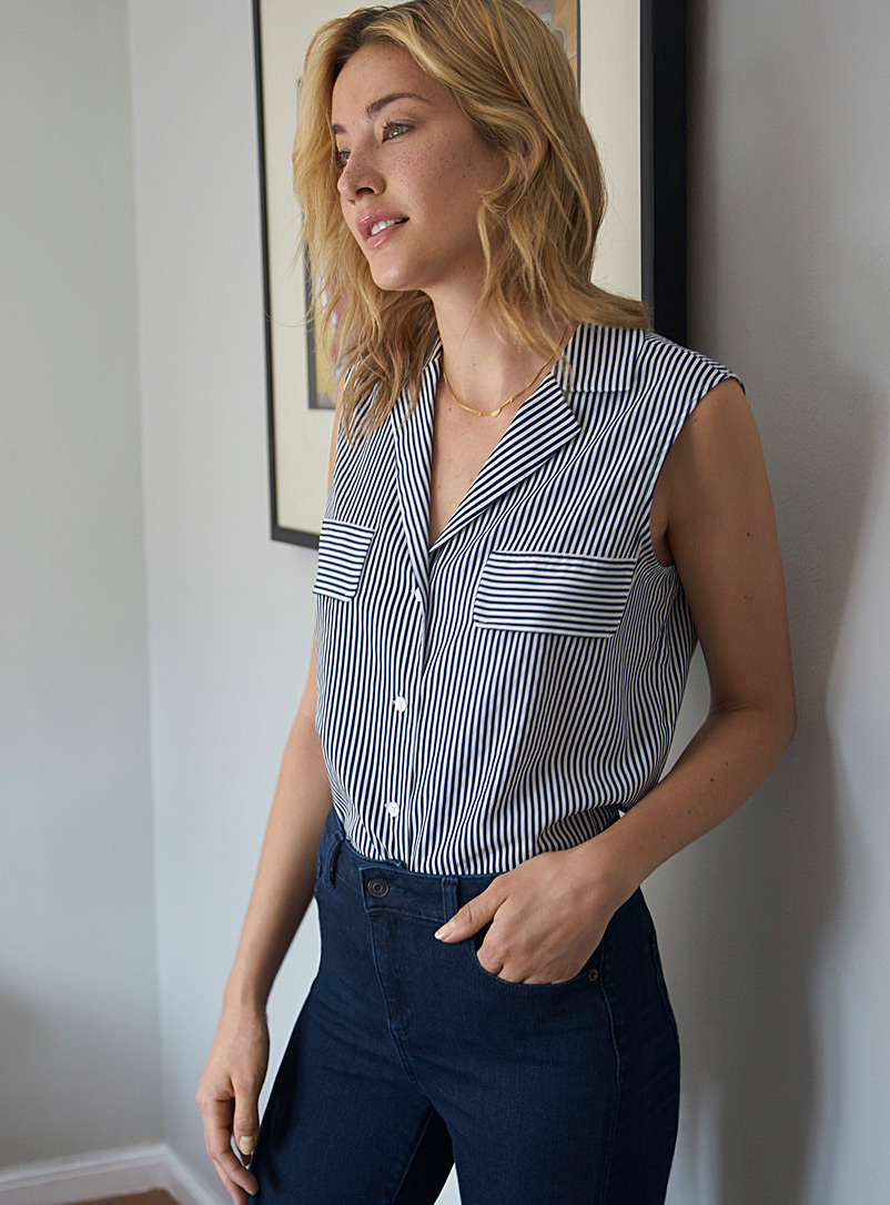 Contemporaine Patterned Blue Notch-collar striped blouse for women