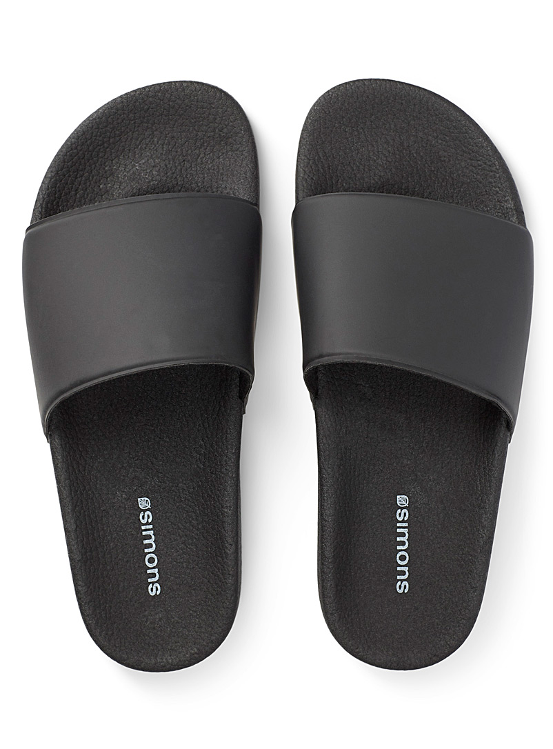Simons Black Monochrome slides for men