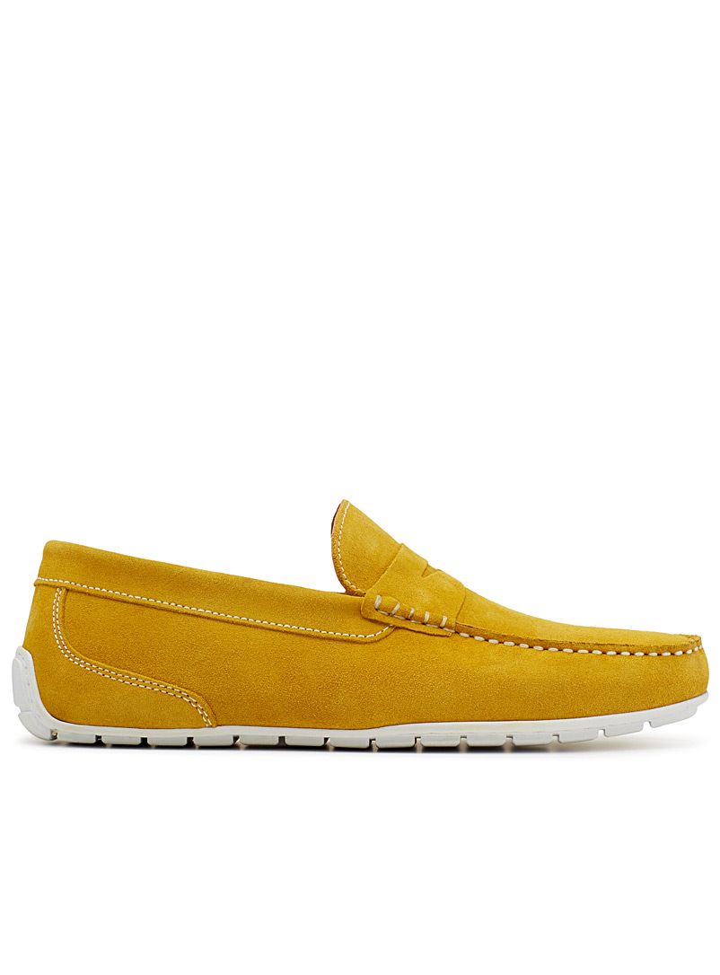 Topstitched suede loafers - Casual - Golden Yellow