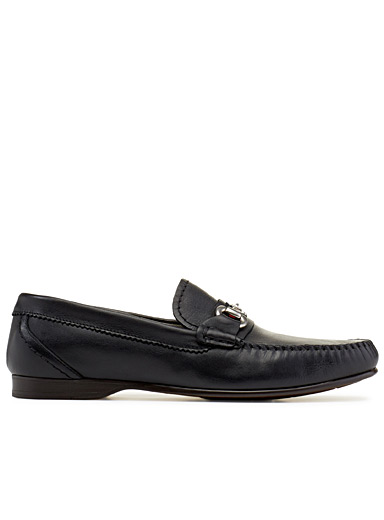 Simons Black Equestrian accent loafers for men