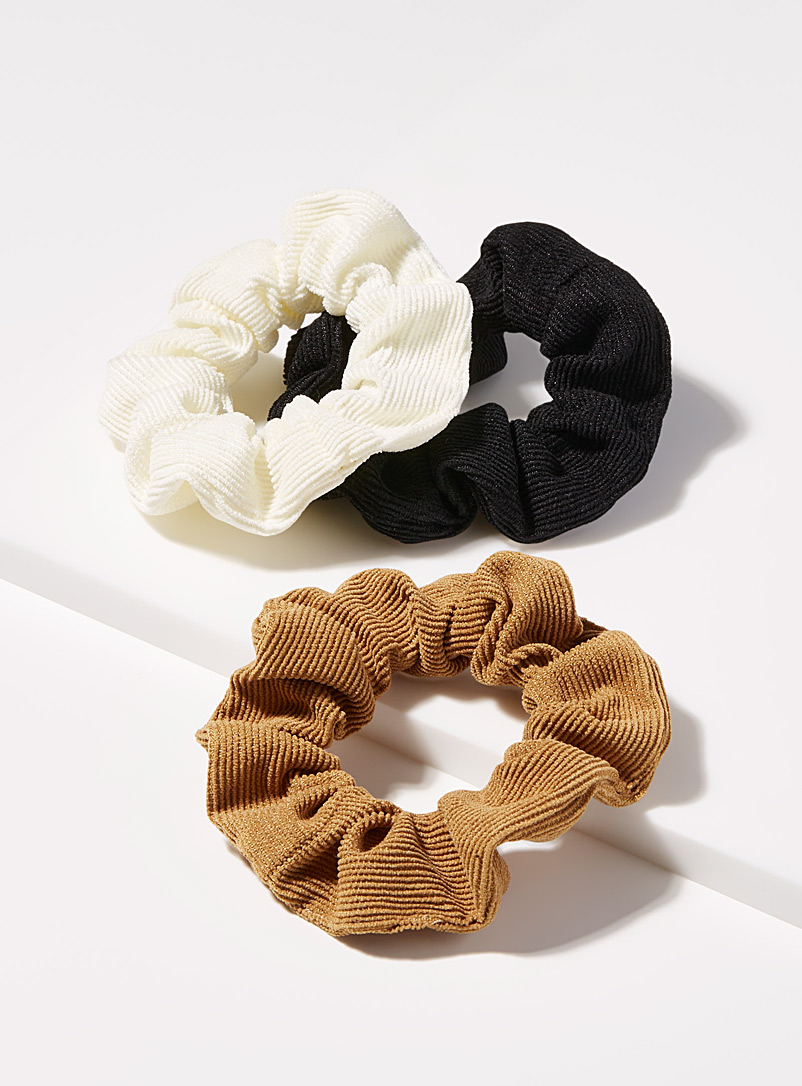 Simons Brown Large corduroy scrunchies Set of 3 for women