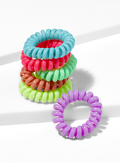 Neon telephone cord elastics <br>Set of 6