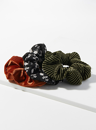 Simons Black Floral and velvet scrunchies  Set of 3 for women