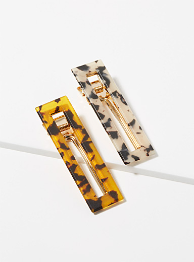 Organic pattern rectangular barrettes Set of 2