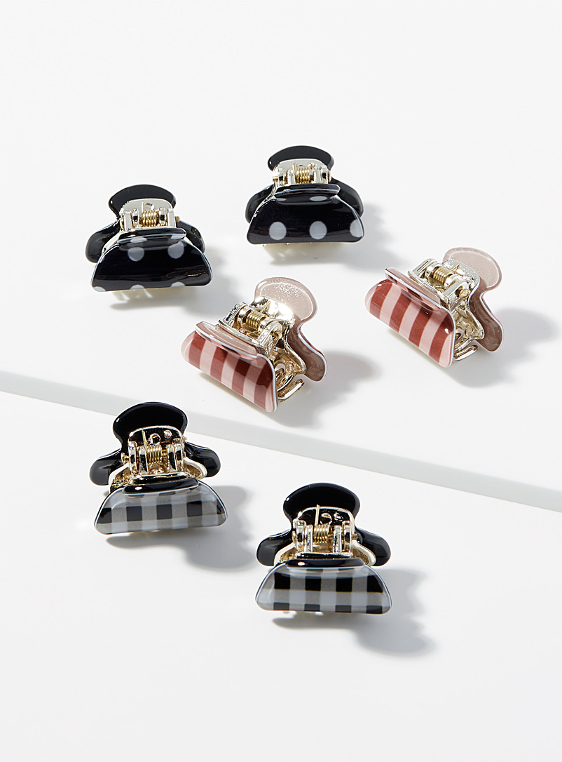 Simons Assorted Retro pattern clips Set of 6 for women