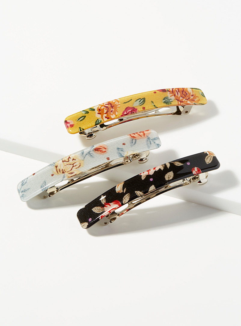Antique flower barrettes  Set of 3
