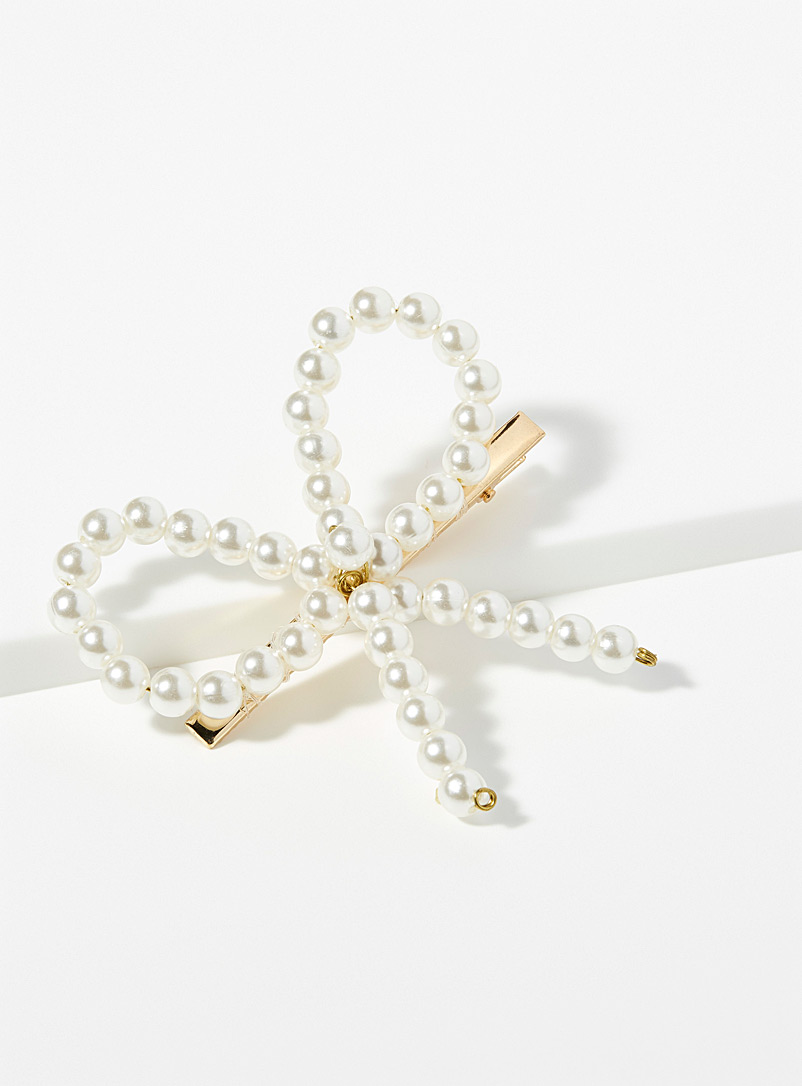 Pearl bow clip - Barrettes and Clips