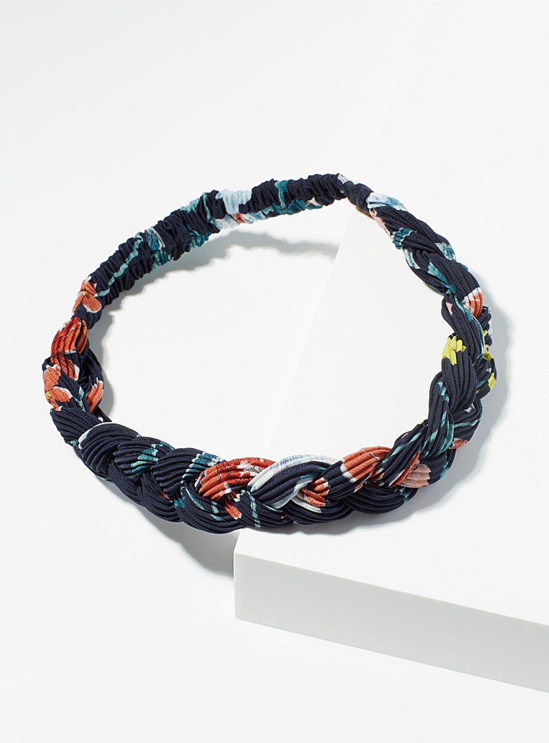 Simons Patterned Brown Printed braided headband for women