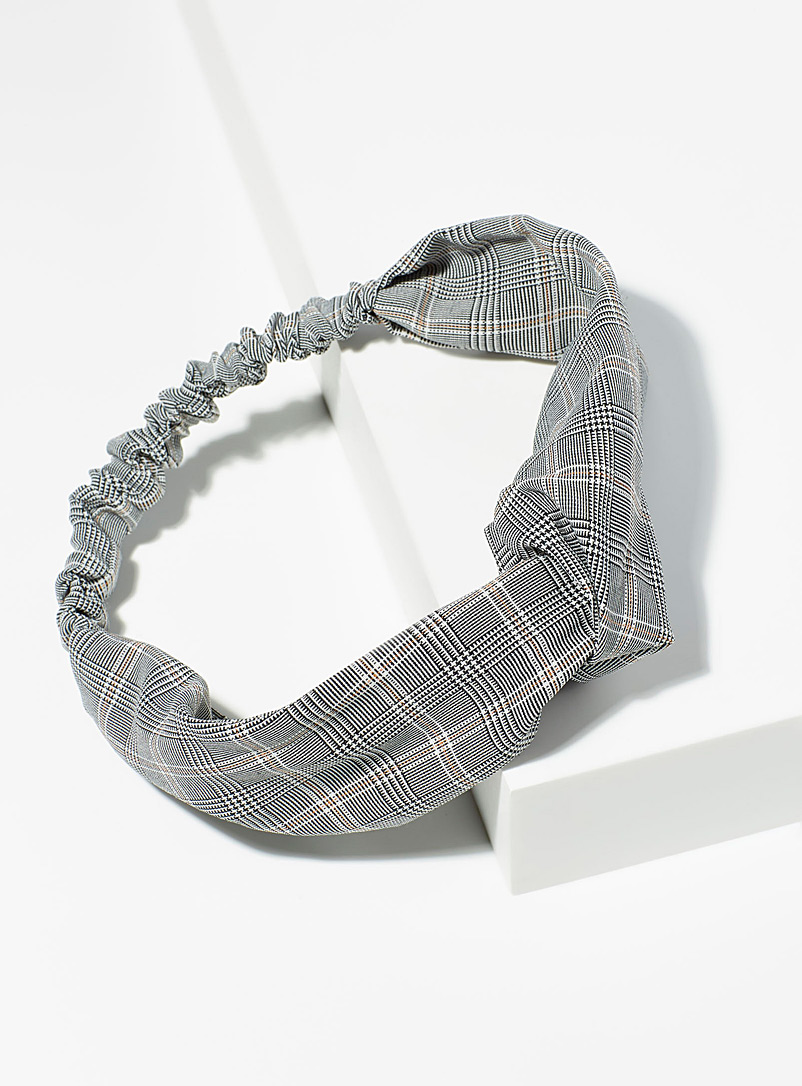 Micro-check headband - Headbands - Patterned Grey