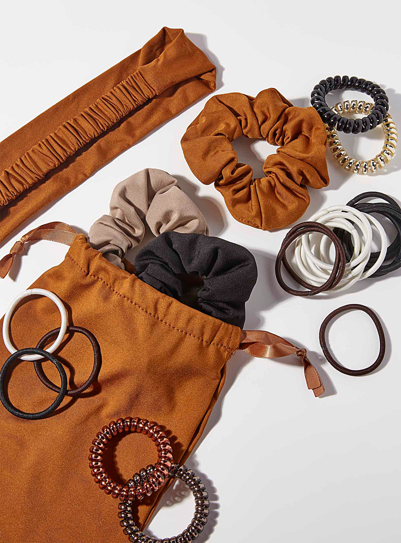 Simons Patterned Brown Hair accessory set 24 pieces for women
