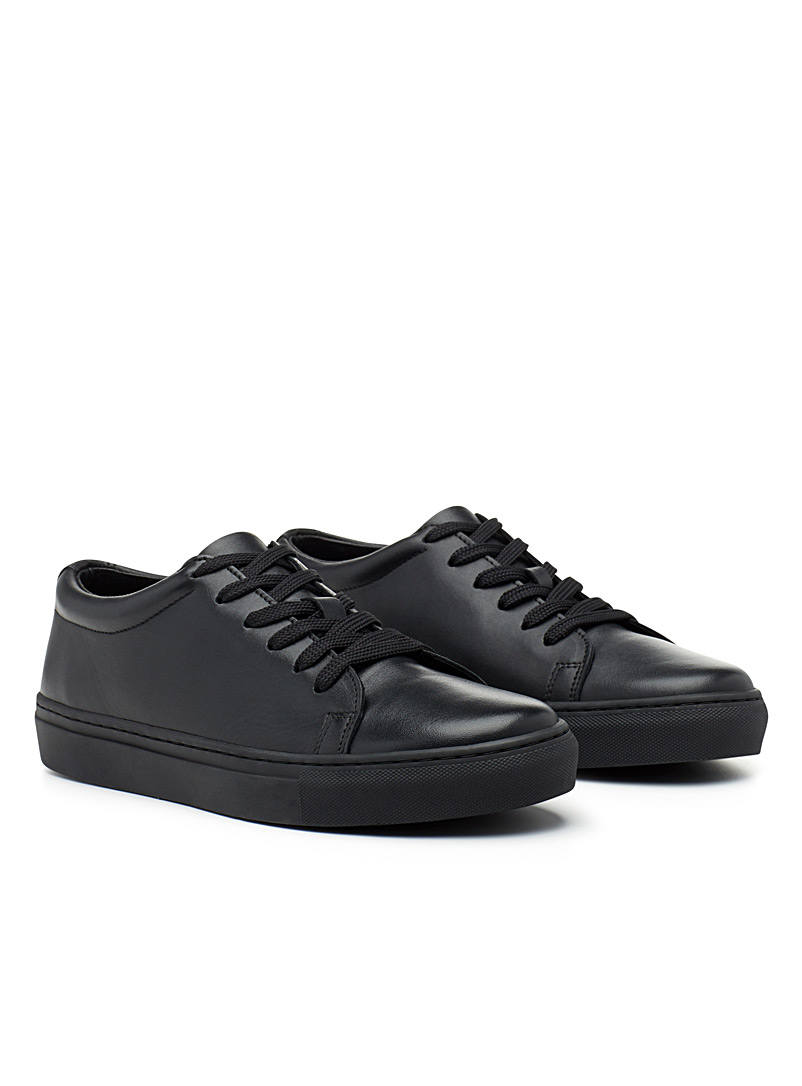 Simons Black Minimalist leather sneakers for men