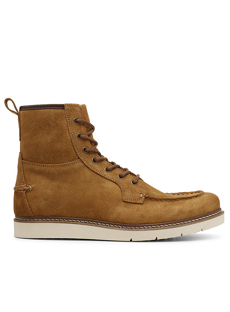 Moccasin-style suede lace-up boots  Men - Boots - Fawn