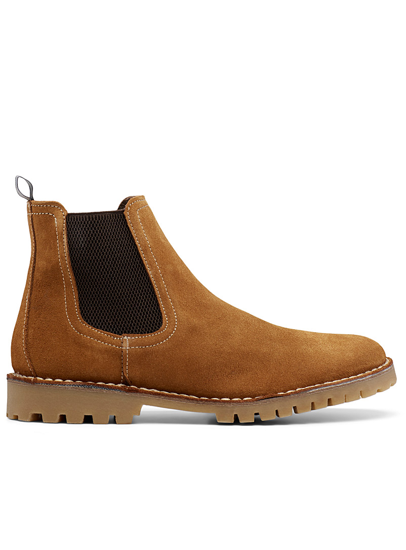 Topstitched suede Chelsea boots  Men - Boots - Fawn